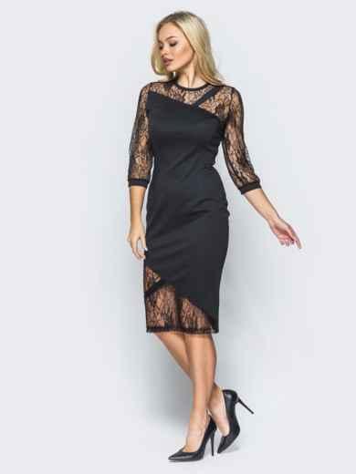 Черное трикотажное платье на молнии со вставками из гипюра - 16152, фото 3 – интернет-магазин Dressa