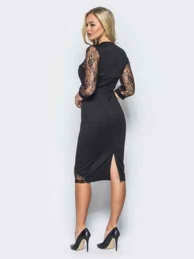 Черное трикотажное платье на молнии со вставками из гипюра - 16152, фото 4 – интернет-магазин Dressa