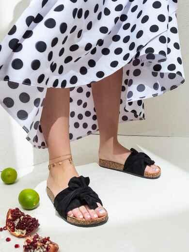 Чёрные шлепанцы с узлом - 47531, фото 1 – интернет-магазин Dressa