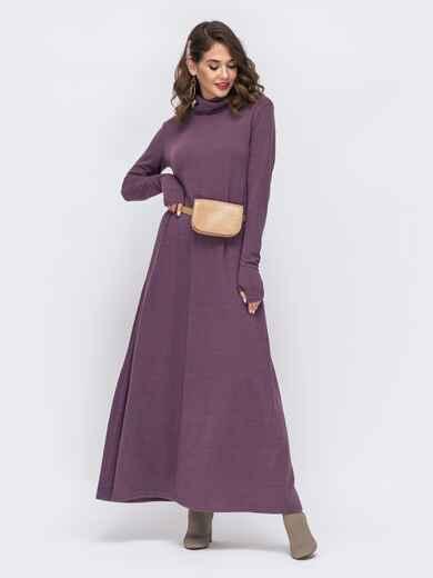 Фиолетовое платье с рукавами-митенками и объёмным воротником 42670, фото 1