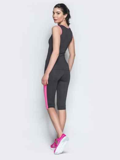 Комплект для фитнеса из майки и бридж с розовыми вставками - 38775, фото 2 – интернет-магазин Dressa