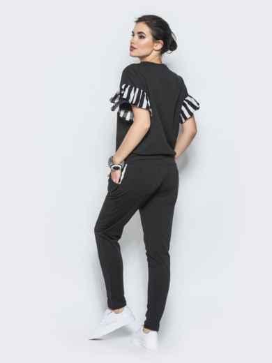Комплект с полосатыми воланами на рукавах черный - 12719, фото 2 – интернет-магазин Dressa