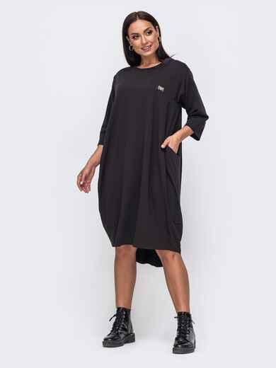 Платье-баллон большого размера с удлиненной спинкой чёрное 51350, фото 1