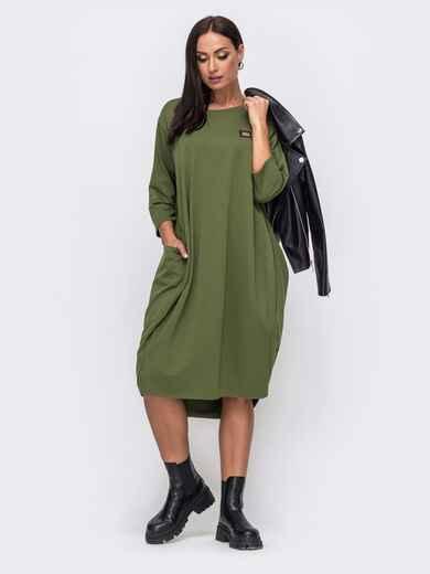 Платье-баллон большого размера с удлиненной спинкой хаки 51348, фото 1