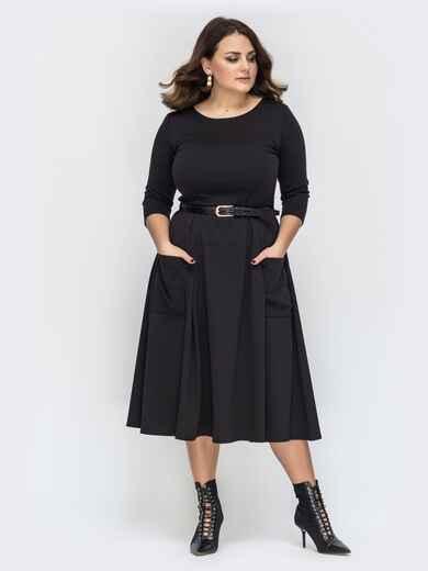 Платье батал чёрного цвета с расклешенной юбкой 44578, фото 1