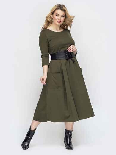 Платье батал цвета хаки с расклешенной юбкой 44572, фото 1
