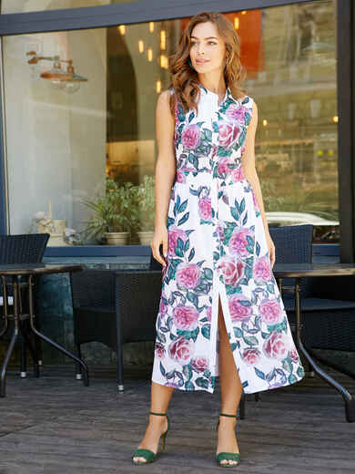 Платье-миди с цветочным принтом - 11628, фото 4 – интернет-магазин Dressa