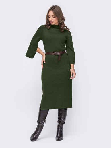 Платье приталенного силуэта с поясом цвета хаки 52652, фото 2