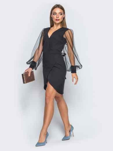 Платье с запахом и фатиновыми рукавами черное - 18178, фото 2 – интернет-магазин Dressa