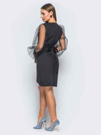 Платье с запахом и фатиновыми рукавами черное - 18178, фото 3 – интернет-магазин Dressa
