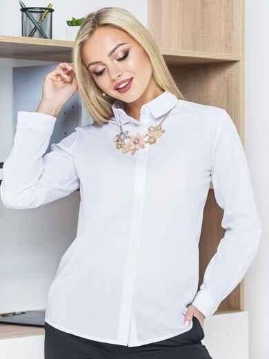 Рубашка с отложным воротником и супатной застёжкой белая - 14574, фото 1 – интернет-магазин Dressa