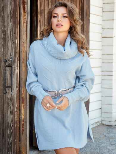 Туника в стиле oversize с воротником-хомут голубой - 41195, фото 1 – интернет-магазин Dressa