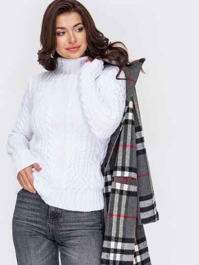 Белый свитер плотной вязки с косами и воротником-стойкой 51922, фото 1