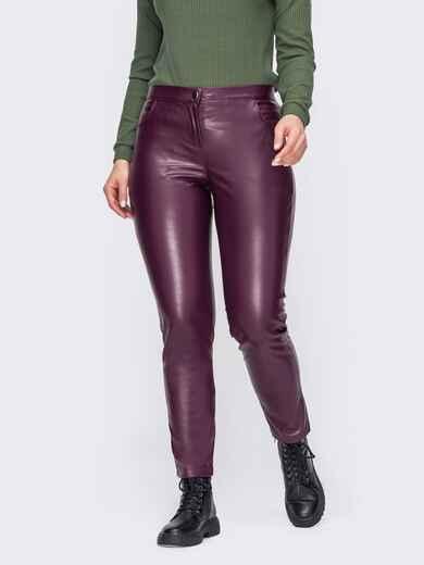 Бордовые брюки большого размера из эко-кожи 52797, фото 1