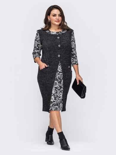 Черное платье большого размера с принтом 51285, фото 1