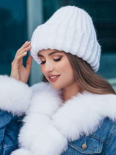 Двойная шапка молочного цвета 40586, фото 1