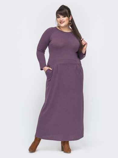 Фиолетовое платье большого размера в пол с рукавом-реглан 44680, фото 1