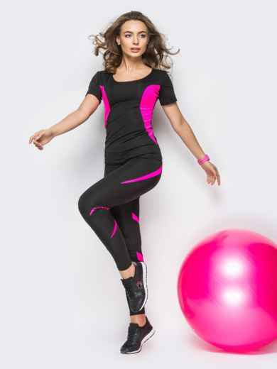 Комплект для фитнеса с розовыми вставками - 33746, фото 2 – интернет-магазин Dressa
