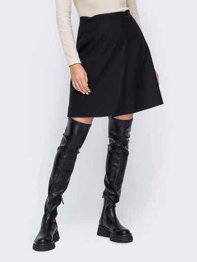 Короткая юбка-трапеция черного цвета 52376, фото 1