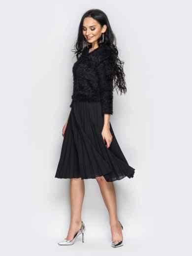 Необычное платье с юбкой-плиссе черное - 10926, фото 2 – интернет-магазин Dressa