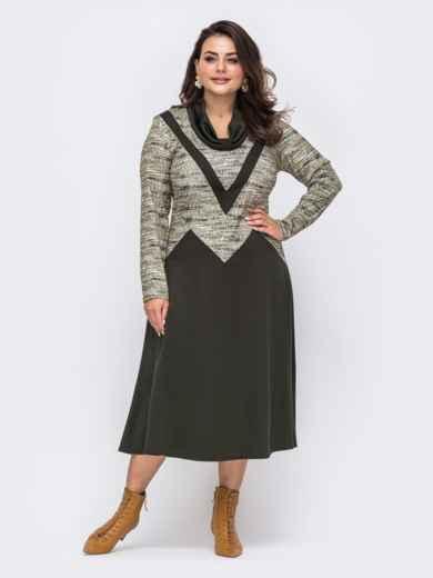 Платье батал приталенного силуэта цвета хаки  51283, фото 2