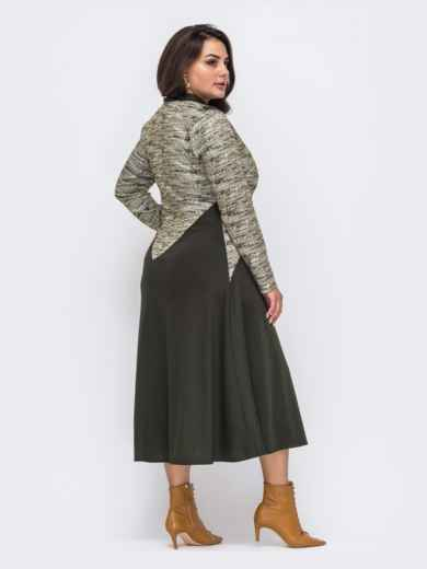 Платье батал приталенного силуэта цвета хаки  51283, фото 3