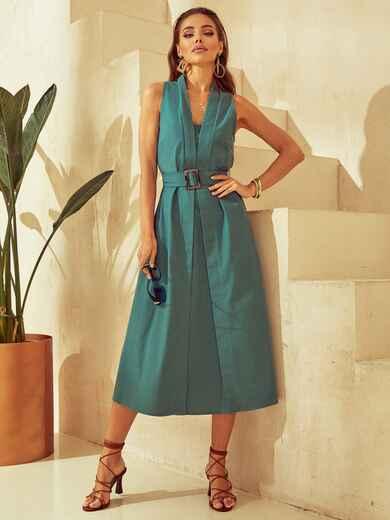 Платье без рукавов из льна с V-образным вырезом зеленое 53873, фото 1