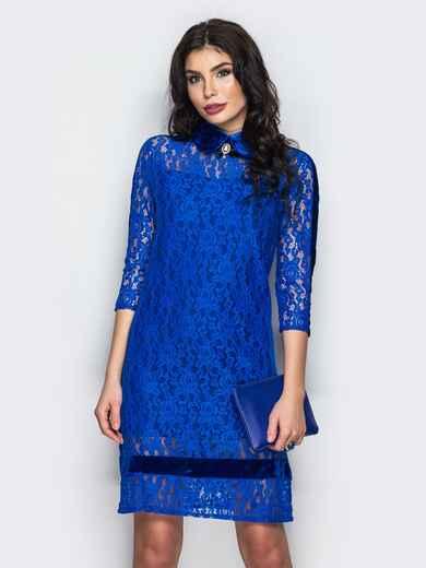 Платье из гипюра с бархатной вставкой  - 22130, фото 1 – интернет-магазин Dressa