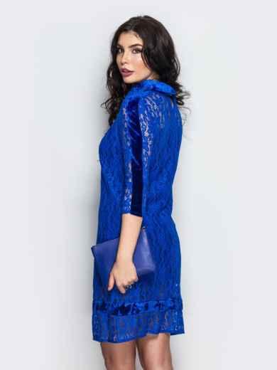 Платье из гипюра с бархатной вставкой  - 22130, фото 2 – интернет-магазин Dressa
