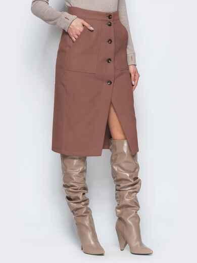 Прямая юбка коричневого цвета из кашемира 41508, фото 1