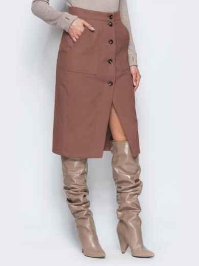 Юбка-карандаш коричневого цвета из кашемира - 41508, фото 1 – интернет-магазин Dressa