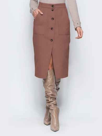 Юбка-карандаш коричневого цвета из кашемира - 41508, фото 2 – интернет-магазин Dressa