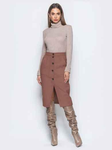 Юбка-карандаш коричневого цвета из кашемира - 41508, фото 3 – интернет-магазин Dressa
