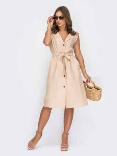 Платье-рубашка бежевого цвета без рукавов 53967, фото 1