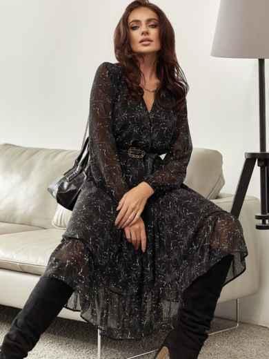 Черное платье из шифона с принтом и юбкой клеш 55206, фото 1
