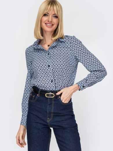 Классическая рубашка с черным принтом 52841, фото 1