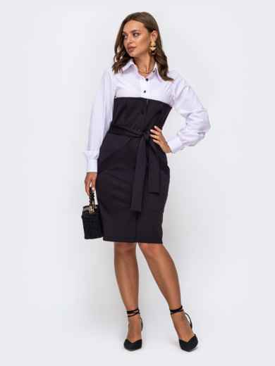 Приталенное платье-рубашка в полоску со съемным поясом чёрное 50509, фото 1