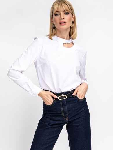 Белая блузка с фигурным вырезом горловины 52834, фото 1