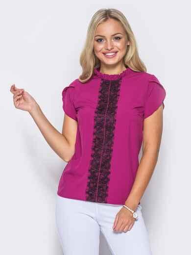 Блузка с коротким рукавом и кружевом на полочке фуксия - 10196, фото 1 – интернет-магазин Dressa