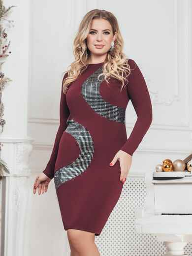 Платье большого размера со вставками из пайеток бордовое 43393, фото 1