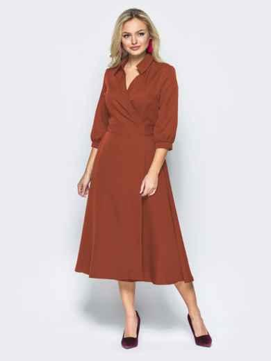 Платье-халат терракотового цвета с отложным воротником 41949, фото 2