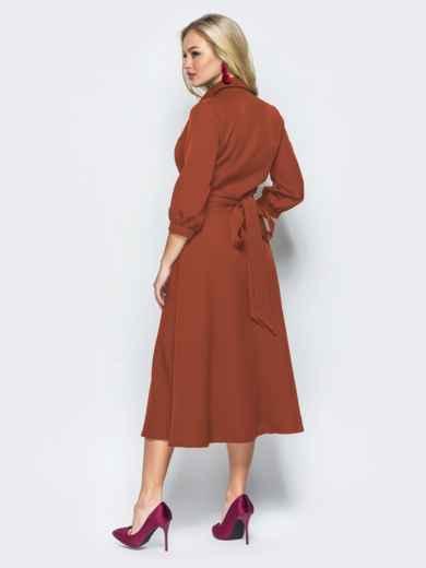 Платье-халат терракотового цвета с отложным воротником 41949, фото 3