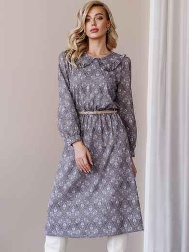 Платье с принтом и отложным воротником коричневое 52839, фото 1