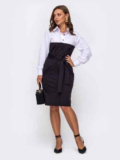 Приталенное платье-рубашка в полоску с рубашечным верхом чёрное 50509, фото 1