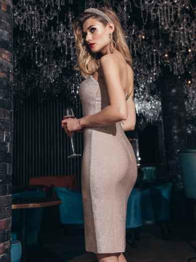 Пудровое платье-бюстье из люрекса с разрезом сбоку - 42832, фото 4 – интернет-магазин Dressa