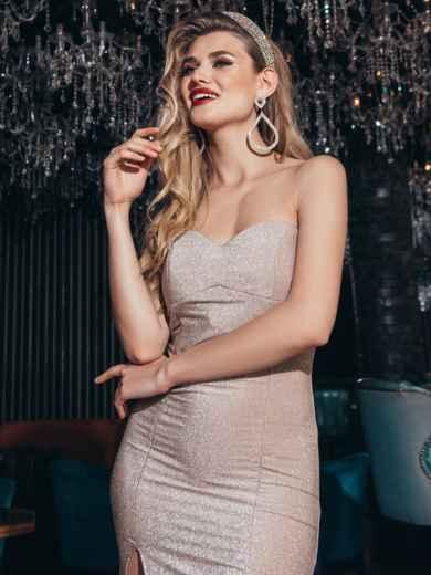 Пудровое платье-бюстье из люрекса с разрезом сбоку - 42832, фото 5 – интернет-магазин Dressa