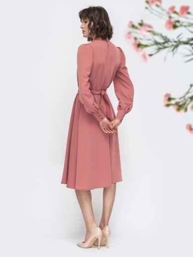 Розовое платье с воротником стойкой и разрезом спереди - 45087, фото 4 – интернет-магазин Dressa