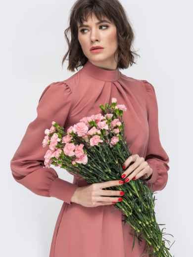 Розовое платье с воротником стойкой и разрезом спереди - 45087, фото 5 – интернет-магазин Dressa