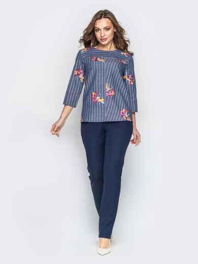 Синий комплект с брюками-дудочками и принтованной кофтой - 21173, фото 2 – интернет-магазин Dressa