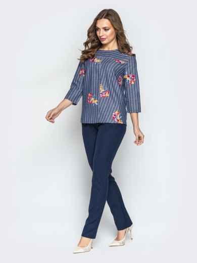 Синий комплект с брюками-дудочками и принтованной кофтой - 21173, фото 3 – интернет-магазин Dressa